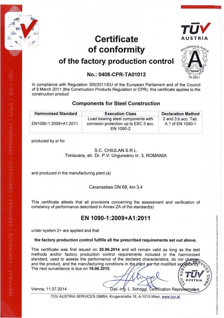 Certificat Chiulan 1090